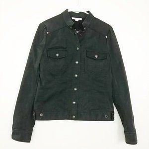 Calvin Klein Jean Jacket Snap Zip Cuff Black #3354